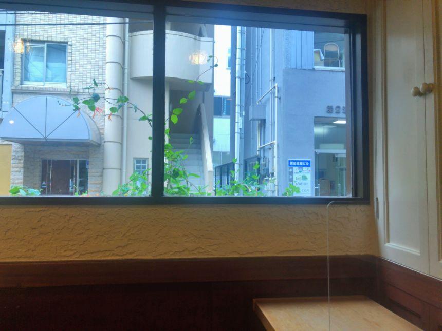 店内から見える窓