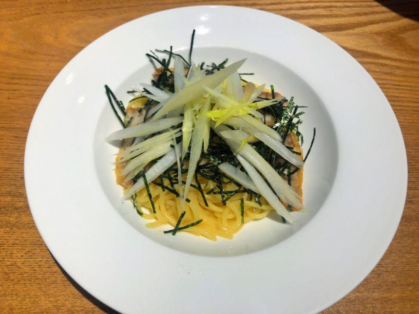 名取産ミョウガタケと豚肉の和風パスタ