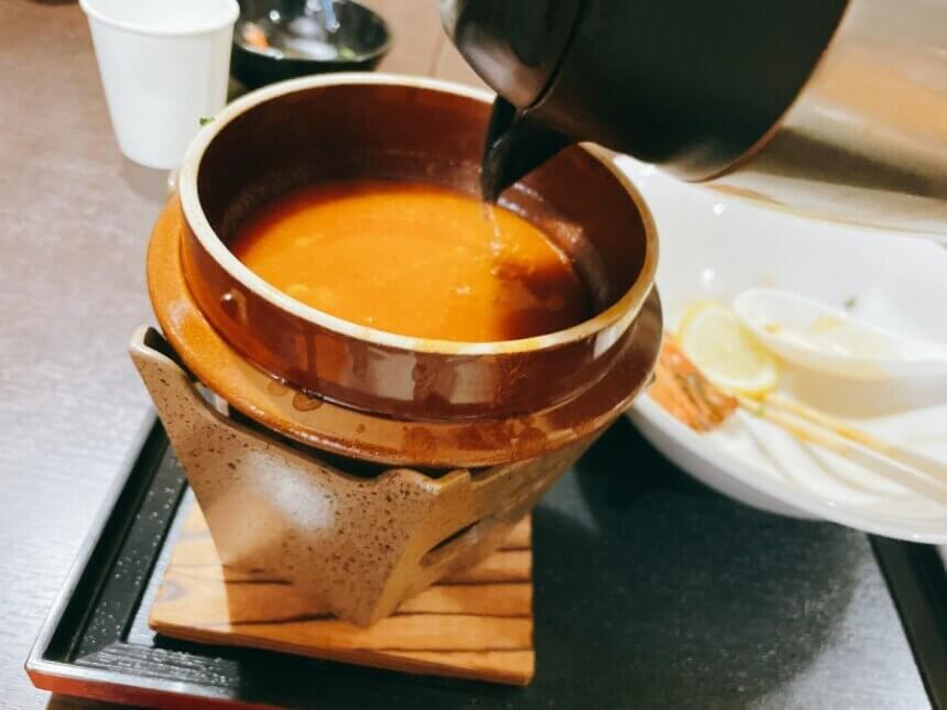 割りスープ投入